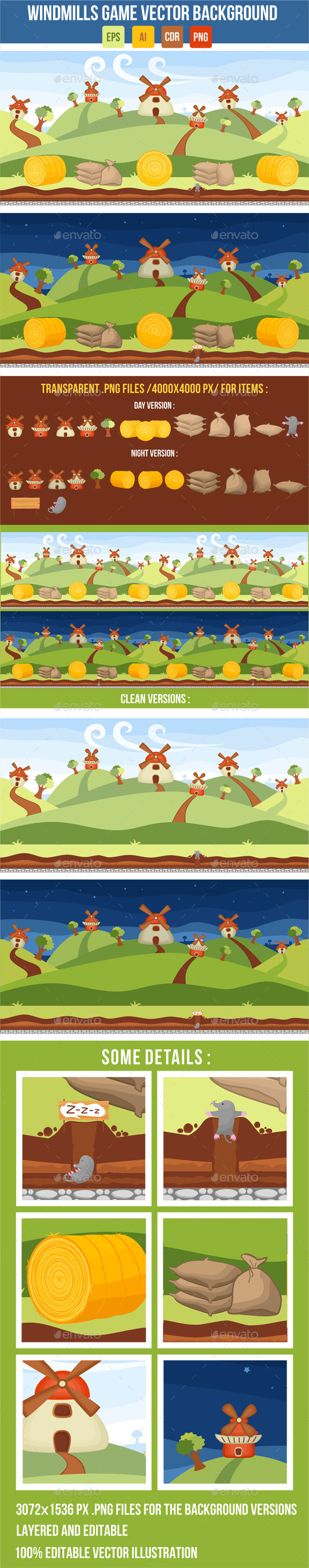 GraphicRiver Windmills Vector Game Background 8832973