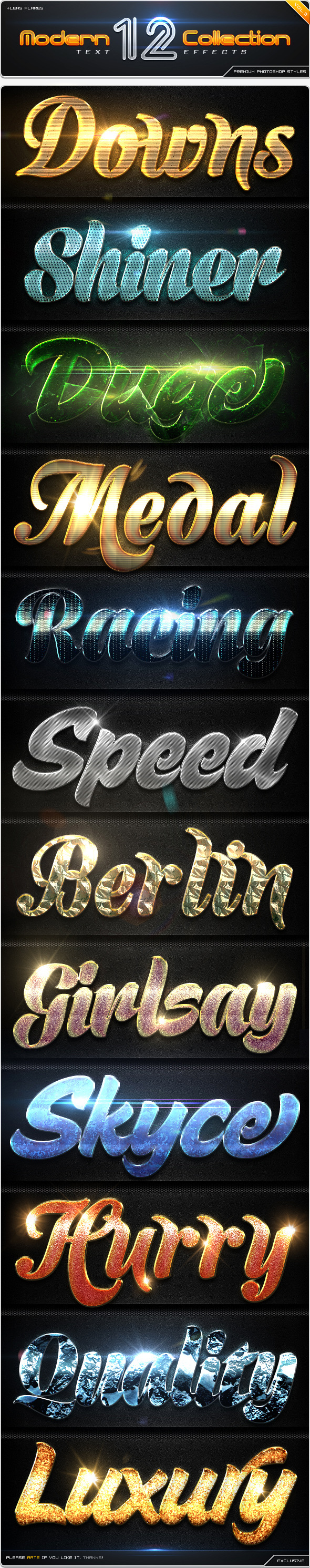 GraphicRiver 12 Modern Collection Text Effect Styles Vol.3 8833021