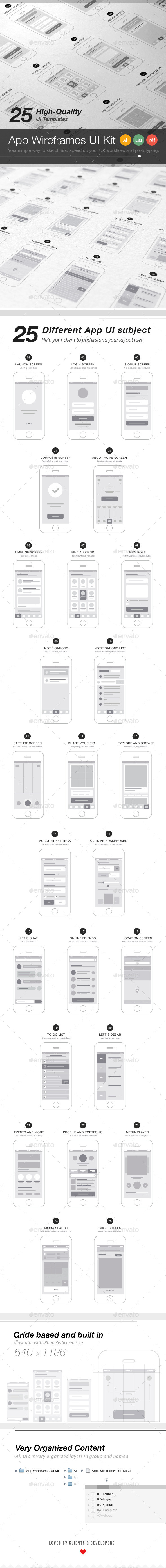 GraphicRiver App Wireframes UI Kit 8833833