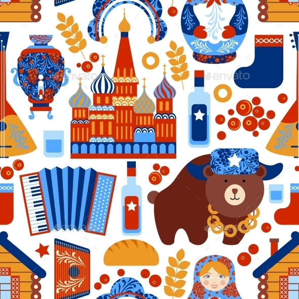 GraphicRiver Russia Travel Seamless Pattern 8835523