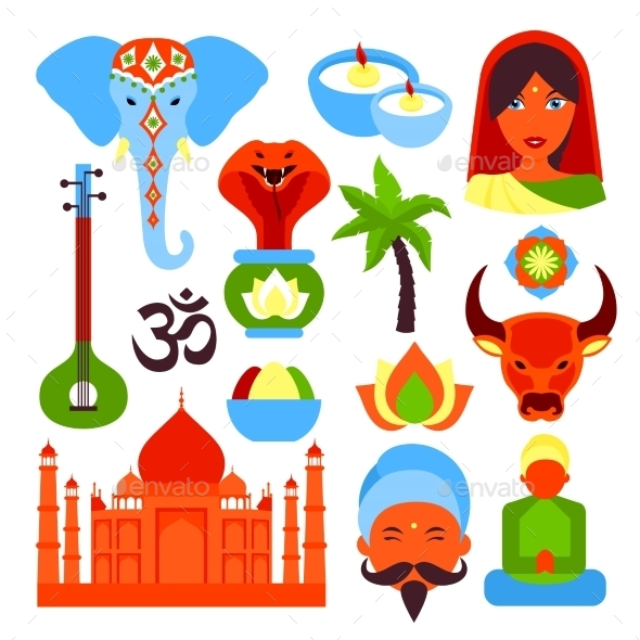 GraphicRiver India Symbols Set 8835544