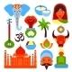 India Symbols Set - GraphicRiver Item for Sale