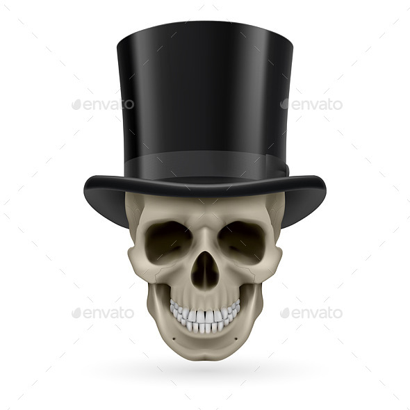GraphicRiver Human Skull with Hat On 8835731