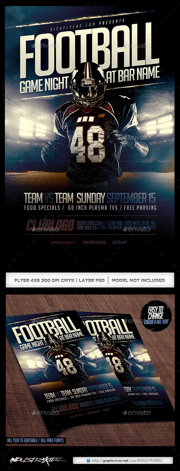 GraphicRiver Football Game Night Flyer Template PSD 8835743