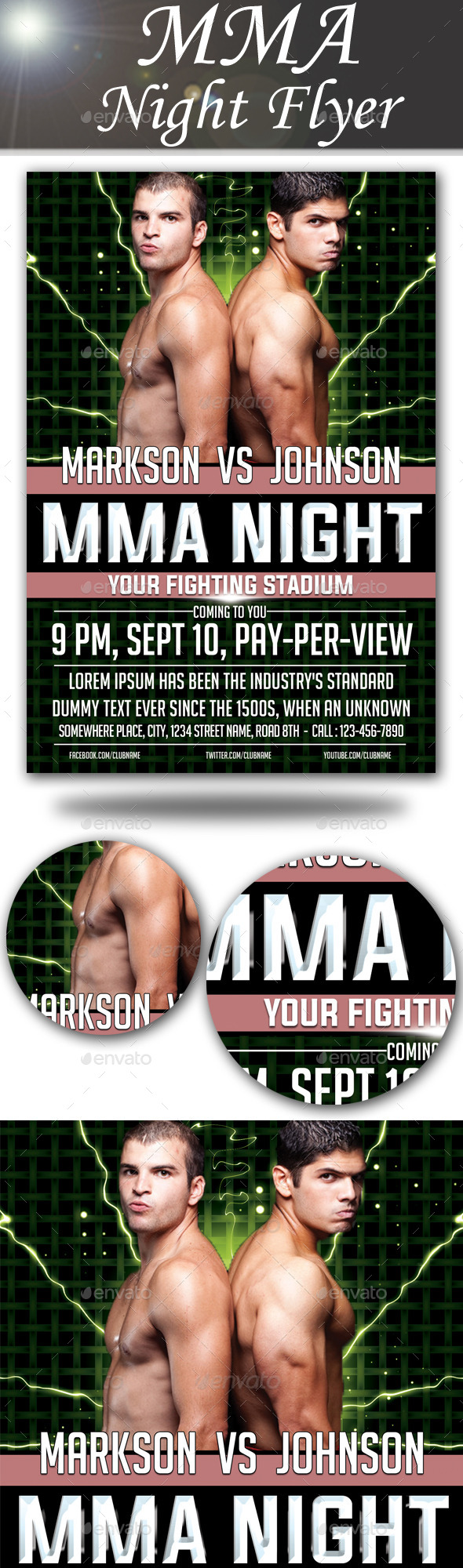 GraphicRiver MMA Night Flyer 8836226