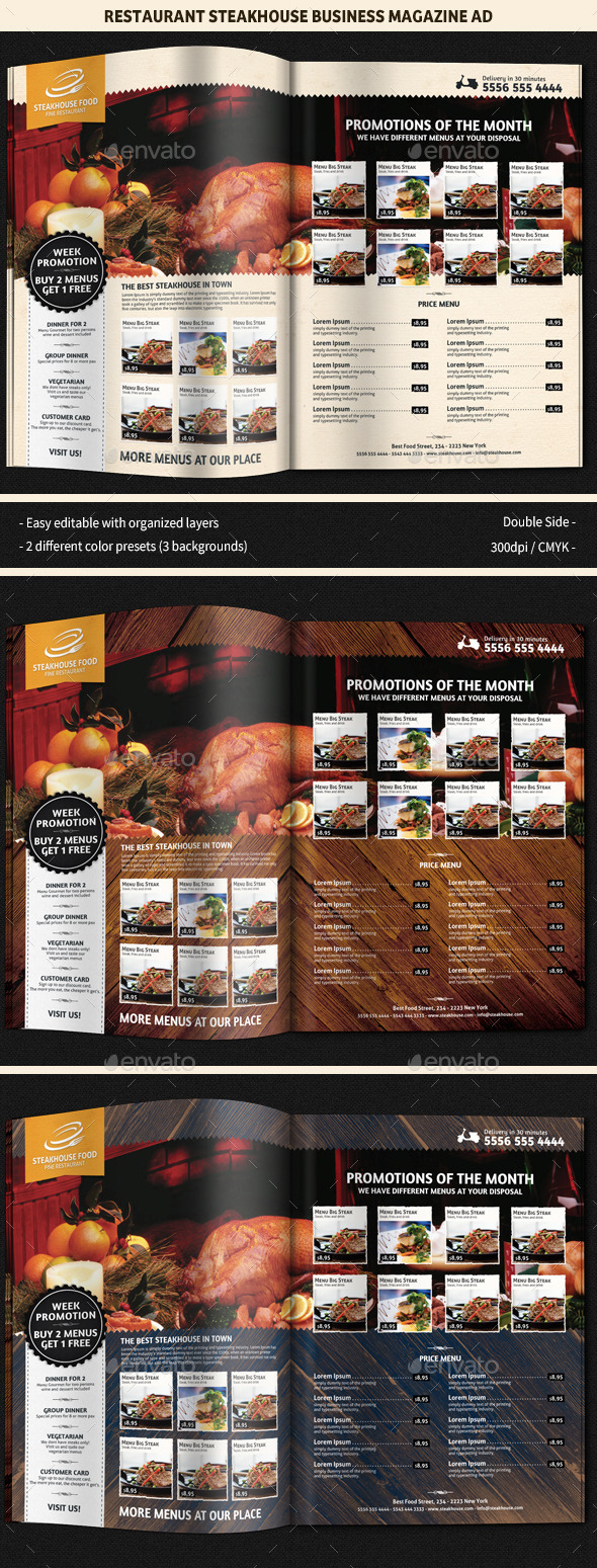 GraphicRiver Restaurant SteakHouse Magazine Ad 8836228