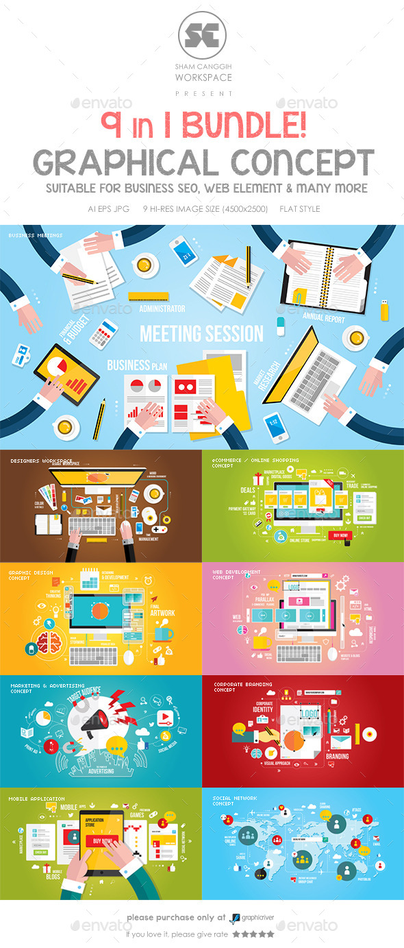GraphicRiver Flat Concept Bundle for Web Design Business etc 8836512