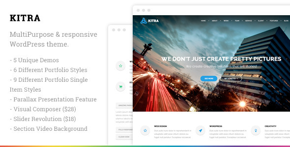 Kitra is a fully responsive premium Wordpress theme that suits to every concept. It comes with 5 different concepts which are One Page, MultiPage, Restaurant, P