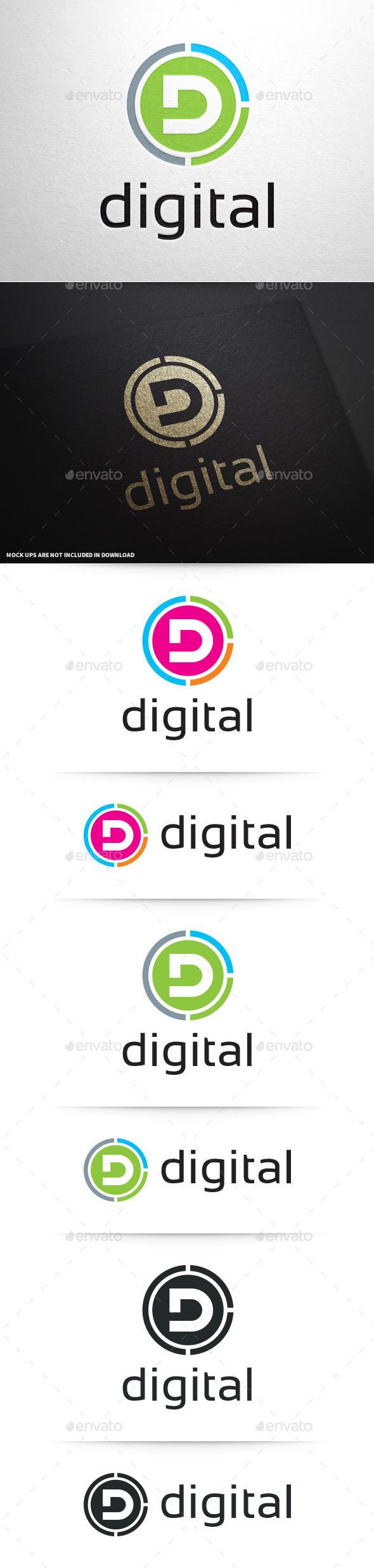 GraphicRiver Digital Letter D Logo 8837512