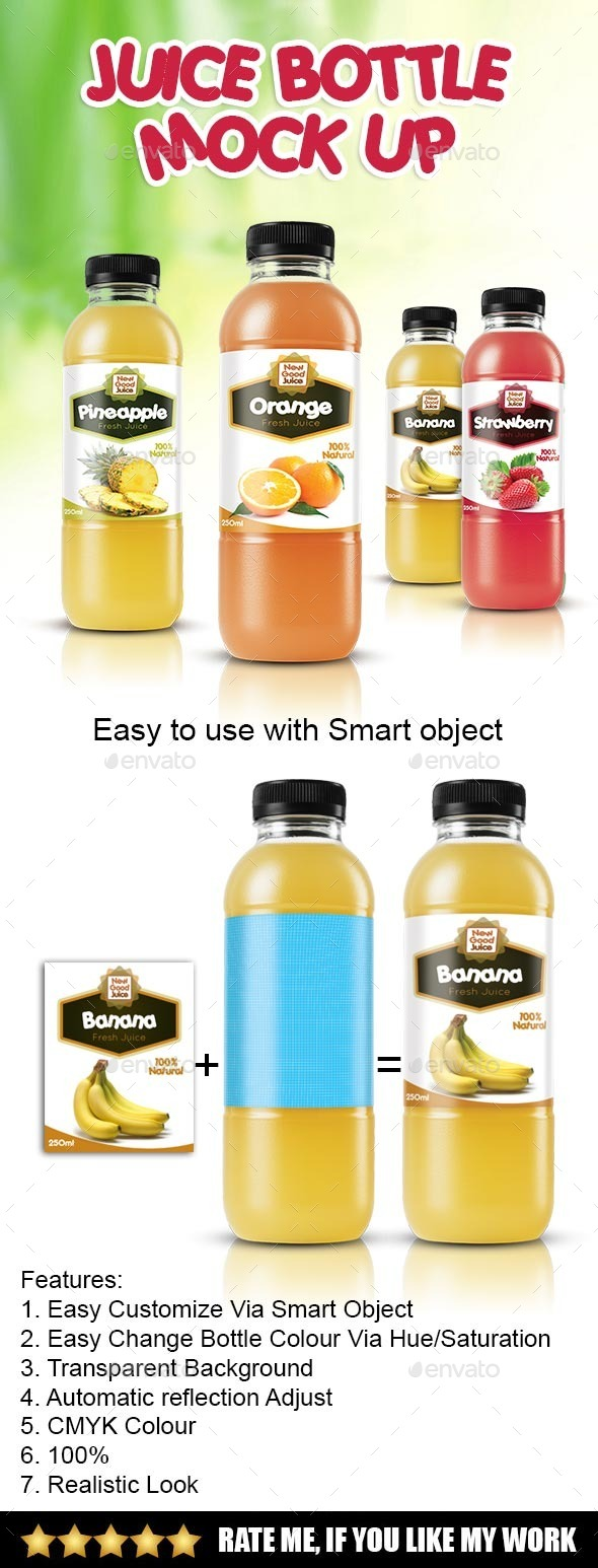 GraphicRiver Juice Bottle Mockup 8837680