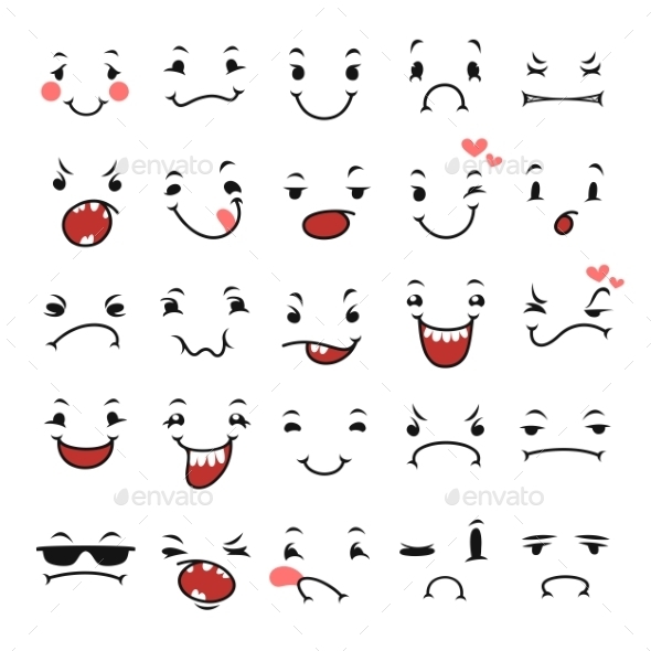 GraphicRiver Doodle Facial Expressions Set For Humor Design 8838010