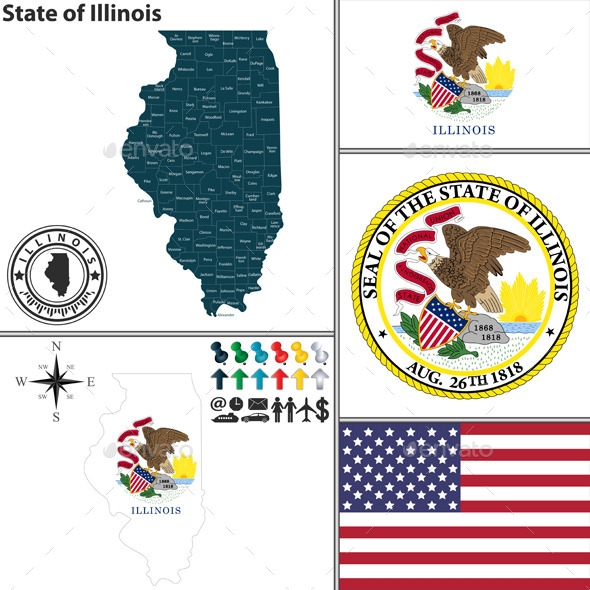 GraphicRiver Map of State Illinois USA 8839213