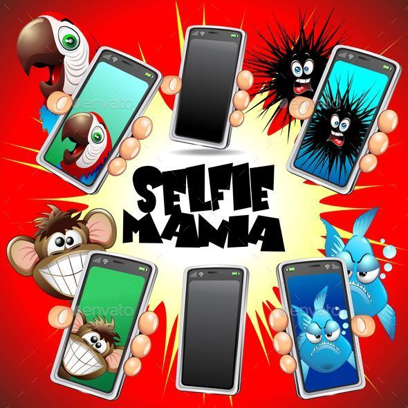 GraphicRiver Selfie Animals Cartoon Faces on Smartphone 8824858