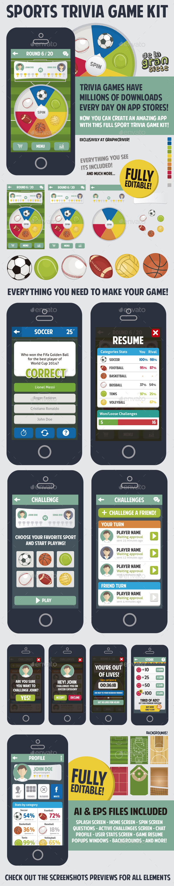 GraphicRiver Sports Trivia Full Game Kit 8839921