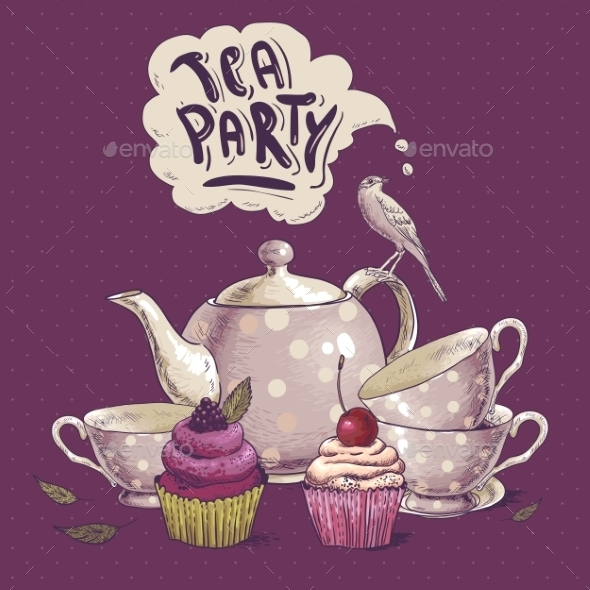 GraphicRiver Tea Party Invitation Card with a Cupcake and Pot 8839935
