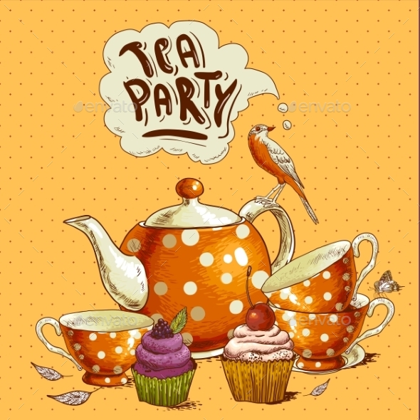 GraphicRiver Tea Party Invitation Card with a Cupcake and Pot 8839942