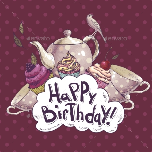GraphicRiver Happy Birthday Card with a Cupcake and Pot 8839948