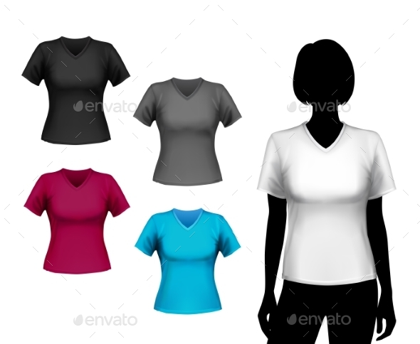 GraphicRiver T-Shirts Female Set 8840120