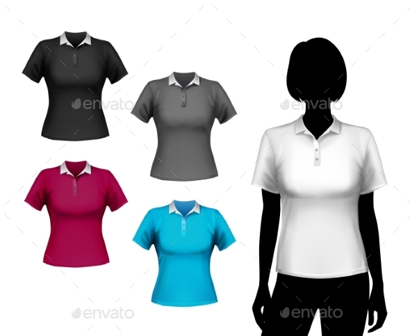 GraphicRiver T-Shirts Female Set 8840129