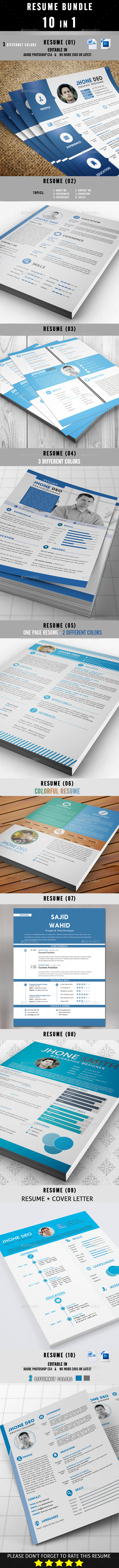 GraphicRiver Resume Bundle 10 in 1 8840295