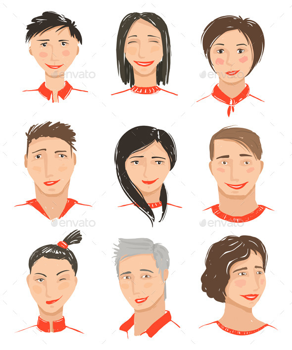 GraphicRiver Men and Women Hand Drawn Face Avatars Set 8840480