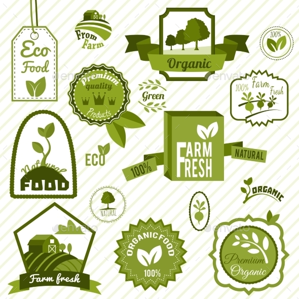 GraphicRiver Green ECO Labels 8840488