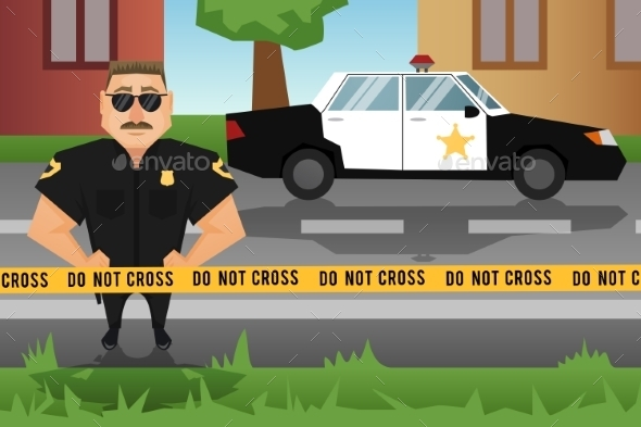 GraphicRiver Policeman and Patrol Car 8840518