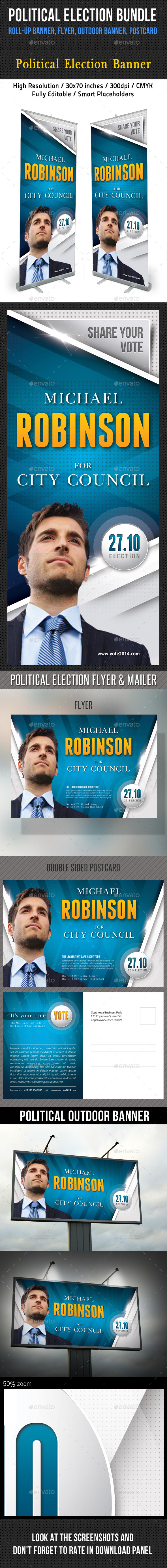 GraphicRiver 4 in 1 Political Banners Flyer Postcard Bundle 8840520