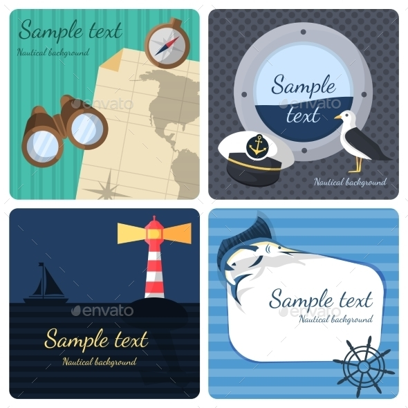 GraphicRiver Nautical Mini Posters Set 8840527