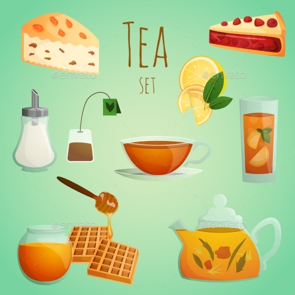 GraphicRiver Tea Decorative Set 8840539