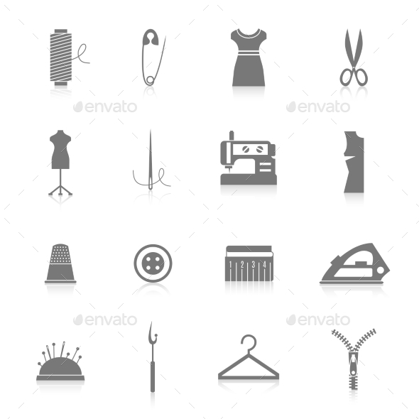 GraphicRiver Sewing Equipment Icons Set Black 8840875