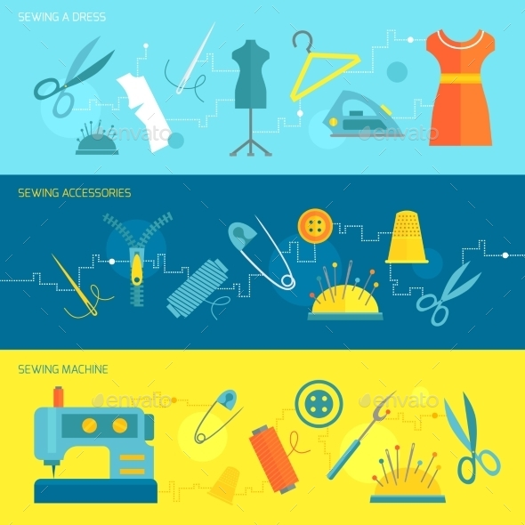 GraphicRiver Sewing Equipment Banner Flat 8840877