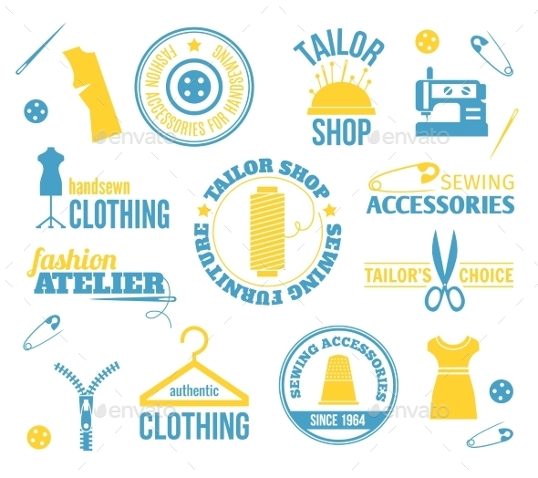 GraphicRiver Sewing Equipment Labels 8840899