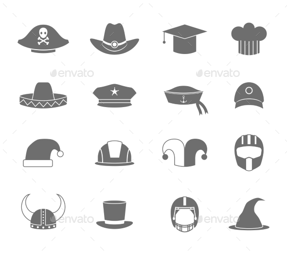 GraphicRiver Icons Hat Set Black 8840908
