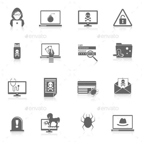 GraphicRiver Hacker Icons Black 8840913