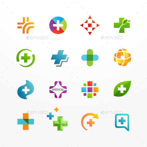 GraphicRiver Vector Set of Medical Icons with Cross and Plus 8840925