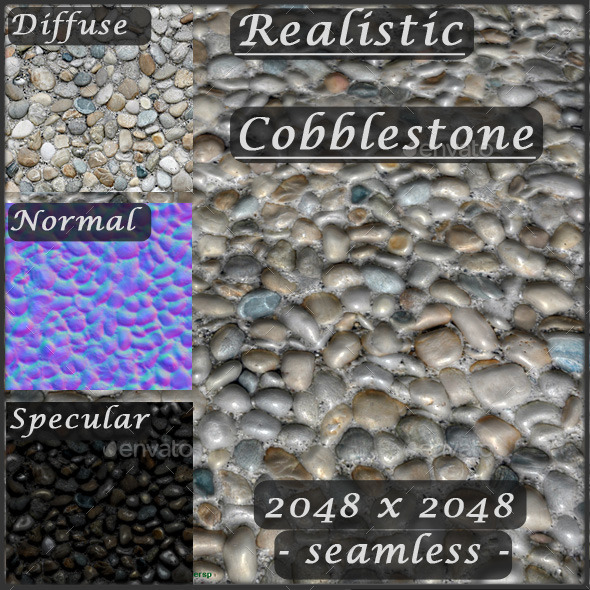Cobblestone Texture - Seamless - 3DOcean Item for Sale