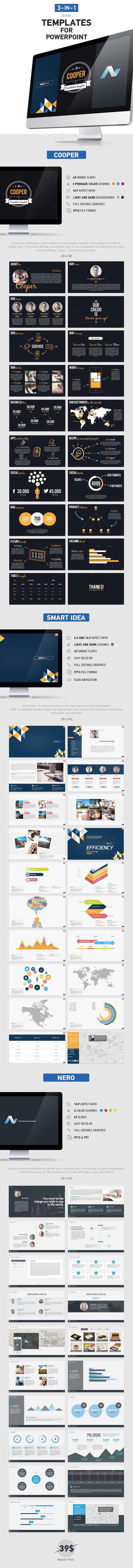 GraphicRiver 3 in 1 PowerPoint Bundle 8842008