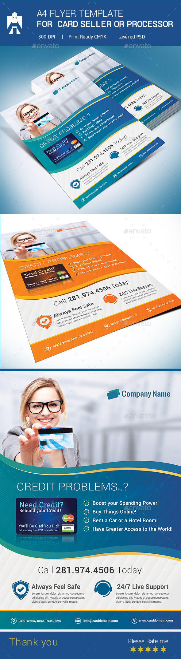 GraphicRiver A4 Flyer for Debit Card or Credit Card Seller 8832549