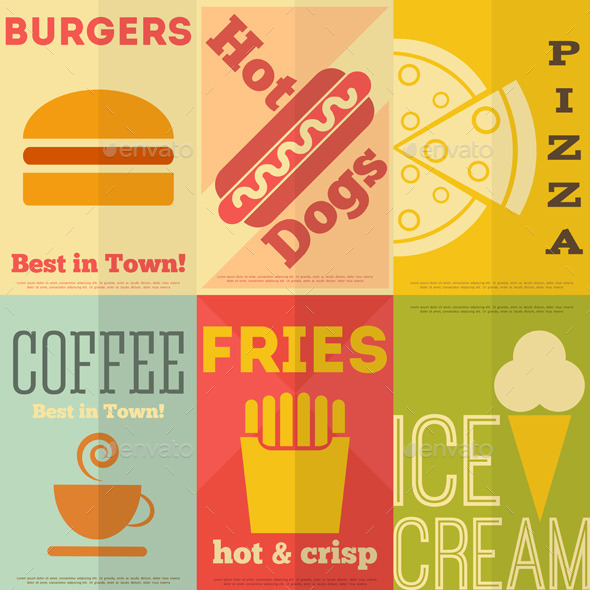 GraphicRiver Retro Fast Food Posters Collection 8842248