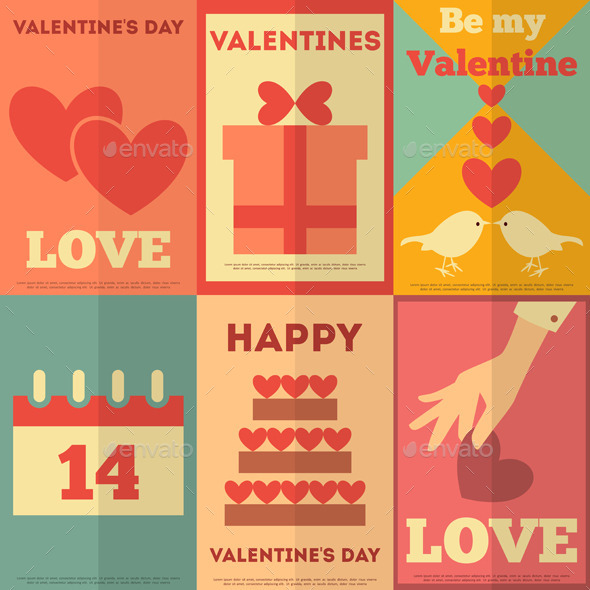 GraphicRiver Retro Valentines Posters Collection 8842344