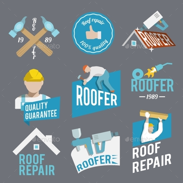 GraphicRiver Roofer Label Set 8842548