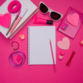 Girly pink desktop and stationery - PhotoDune Item for Sale