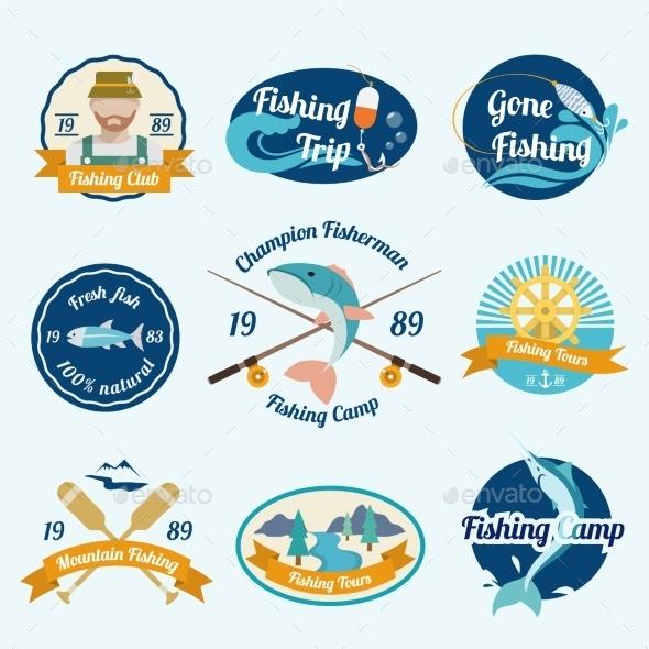 GraphicRiver Fishing Label Set 8842552