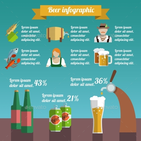 GraphicRiver Beer Infographic Set 8842649