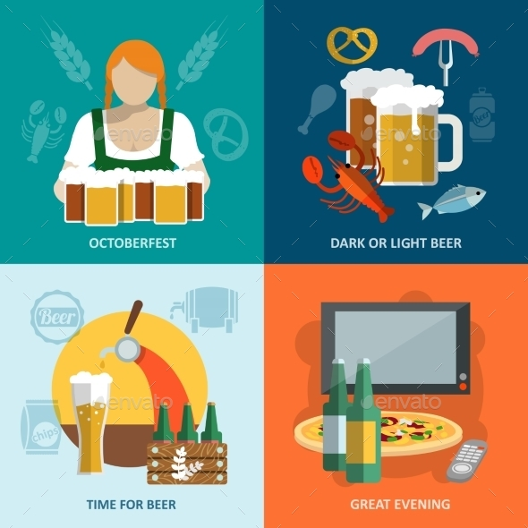 GraphicRiver Beer Flat Set 8842650