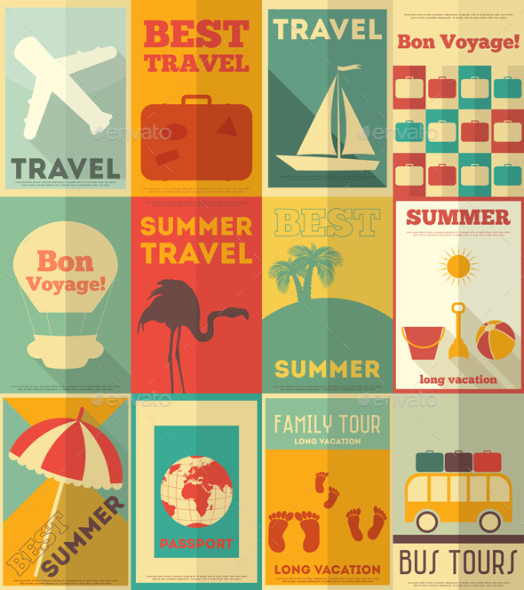 GraphicRiver Flat Travel Posters Set 8842657