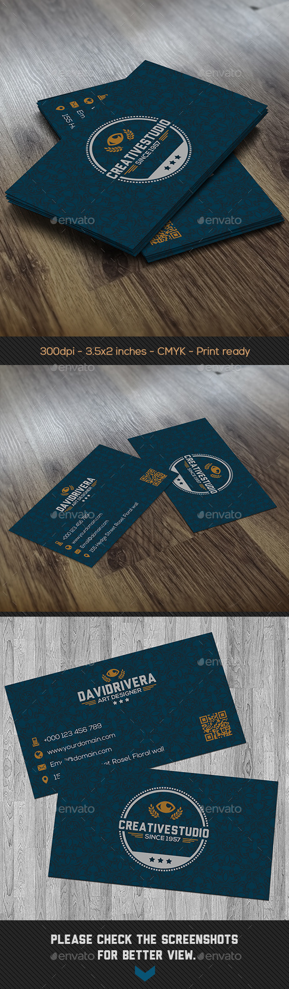 GraphicRiver Blue Baroque Creative Business Card 8832698