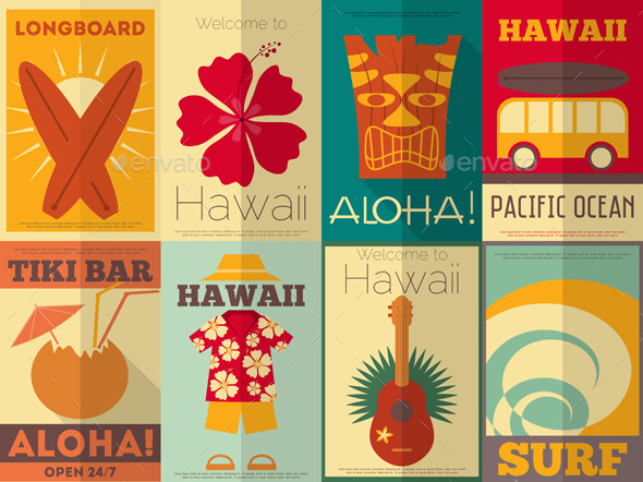 GraphicRiver Retro Hawaii Posters Collection 8842771