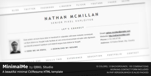 MinimalMe - Minimal HTML CV / Resume Template - MinimalMe by QBKL Studio: A beautiful minimal CV/Resume HTML template